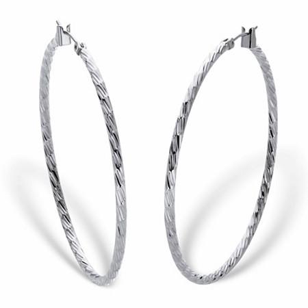"Banded Hoop Earrings in Silvertone 2"" at PalmBeach Jewelry"