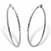 Banded Silvertone Hoop Earrings 2