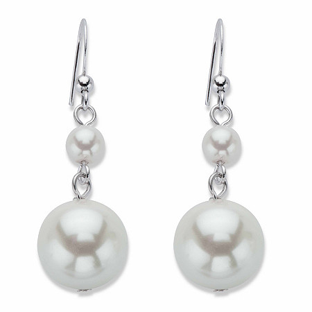 Round Cream Simulated Pearl Graduated Drop Earrings in Silvertone at PalmBeach Jewelry