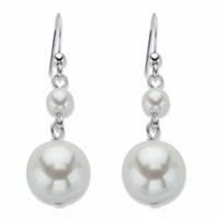 Round Cream Simulated Pearl Silvertone Graduated Drop Earrings