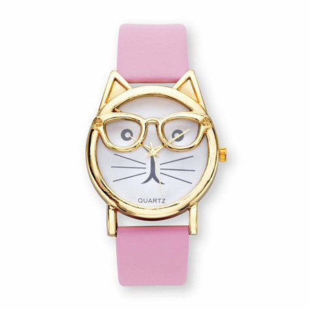 """Cat Watch With White Face and Adjustable Pink Strap in Gold Tone 8"""" at PalmBeach Jewelry"""
