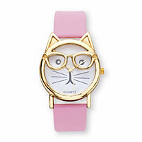 Cat Watch With White Face and Adjustable Pink Strap in Gold Tone 8""