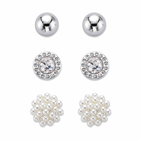 Simulated Pearl and Crystal 3-Pair Cluster Ball and Stud Earring Set in Silvertone 8mm-10mm at PalmBeach Jewelry