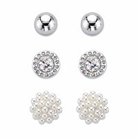Simulated Pearl and Crystal 3-Pair Cluster Ball and Stud Earring Set in Silvertone 8mm-10mm