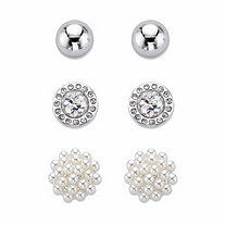 SETA JEWELRY Simulated Pearl and Crystal 3-Pair Cluster Ball and Stud Earring Set in Silvertone 8mm-10mm