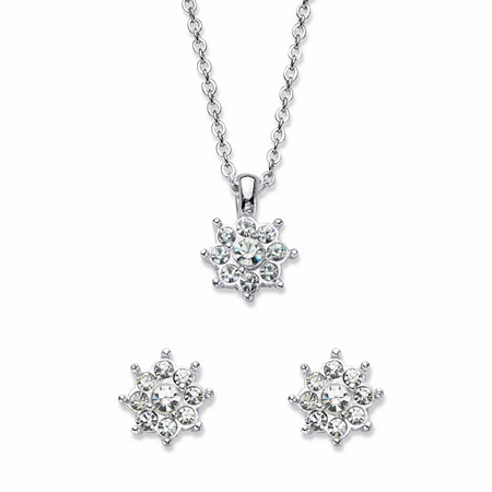 "Round Crystal Flower Stud Earring and Pendant Necklace in Silvertone 18"" at PalmBeach Jewelry"