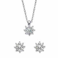Round Crystal Flower Stud Earring And Pendant Necklace
