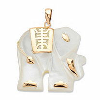 "Genuine Mother-of-Pearl ""Good Fortune"" Elephant Pendant in Solid 10k Yellow Gold"