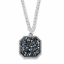 Round Simulated Druzy Black Quartz Octagon Pendant Necklace in Silvertone 18