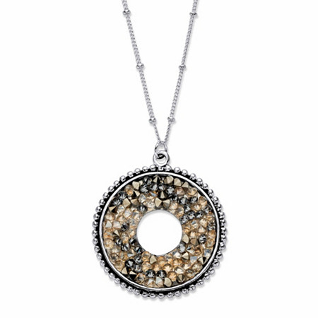 "Brown Simulated Druzy Crystal Circle Beaded Pendant Necklace in Silvertone 18""-20"" at PalmBeach Jewelry"
