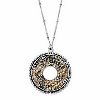 Brown Simulated Druzy Crystal Circle Beaded Pendant Necklace in Silvertone 18
