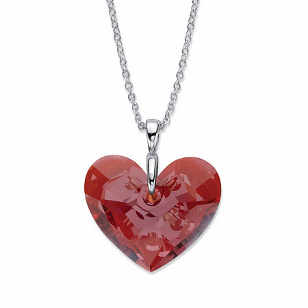 """Faceted Red Crystal Heart-Shaped Pendant Necklace in Silvertone 17"""" - 19"""" at PalmBeach Jewelry"""
