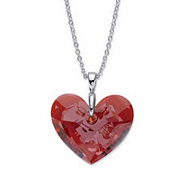 SETA JEWELRY Faceted Red Crystal Heart-Shaped Pendant Necklace in Silvertone 17