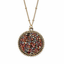Round Simulated Brown Druzy Quartz Cluster Pendant Necklace in Goldtone 18