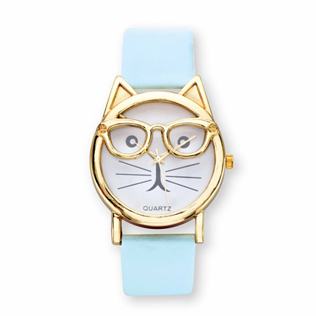 "Cat Watch With White Face and Adjustable Blue Strap in Gold Tone Adjustable 8"" at PalmBeach Jewelry"