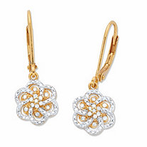Round Diamond Flower Leverback Drop Earrings 1/8 TCW in 18k Gold over Sterling Silver 1