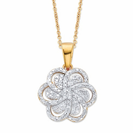 """Round Diamond Flower Pendant Necklace 1/10 TCW in 18k Gold over Sterling Silver 18"""" at PalmBeach Jewelry"""
