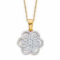 Round Diamond Flower Pendant Necklace 1/10 TCW in 18k Gold over Sterling Silver 18