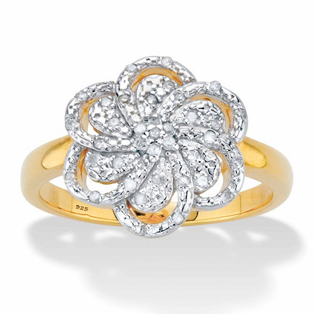 1/10 TCW Round Diamond Flower Ring in 18k Gold over Sterling Silver at PalmBeach Jewelry