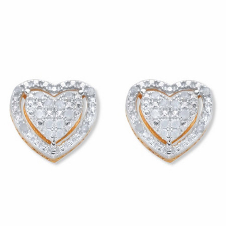 Round Diamond Heart-Shaped Floating Halo Stud Earrings 1/7 TCW in 18k Gold over Sterling Silver at PalmBeach Jewelry