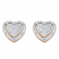 Round Diamond Heart-Shaped Floating Halo Stud Earrings 1/7 TCW in 18k Gold over Sterling Silver
