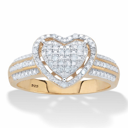 Round Diamond Floating Halo Heart Ring 1/7 TCW in 18k Gold over Sterling Silver at PalmBeach Jewelry