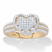 SETA JEWELRY Round Diamond Floating Halo Heart Ring 1/7 TCW in 18k Gold over Sterling Silver