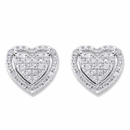 Round Diamond Heart-Shaped Floating Halo Stud Earrings 1/7 TCW in Platinum over Sterling Silver at PalmBeach Jewelry