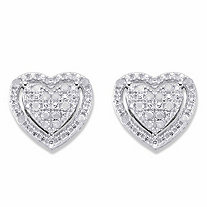 Round Diamond Heart-Shaped Floating Halo Stud Earrings 1/7 TCW in Platinum over Sterling Silver