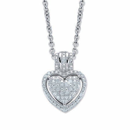 """Round Diamond Accent Heart-Shaped Floating Halo Pendant Necklace in Platinum over Sterling Silver 18"""" at PalmBeach Jewelry"""