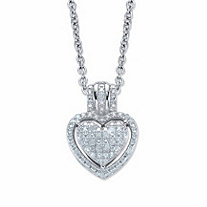 Round Diamond Accent Heart-Shaped Floating Halo Pendant Necklace in Platinum over Sterling Silver 18""