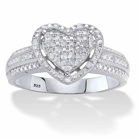 Round Diamond Heart-Shaped Floating Halo Ring 1/7 TCW in Platinum over Sterling Silver at PalmBeach Jewelry