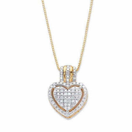 "Round Diamond Accent Heart-Shaped Floating Halo Pendant Necklace in 18k Gold over Sterling Silver 18"" at PalmBeach Jewelry"