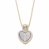 Round Diamond Accent Heart-Shaped Floating Halo Pendant Necklace in 18k Gold over Sterling Silver 18