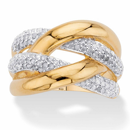 Round Diamond Crossover Ring 1/2 TCW in 18k Gold over Sterling Silver at Direct Charge presents PalmBeach