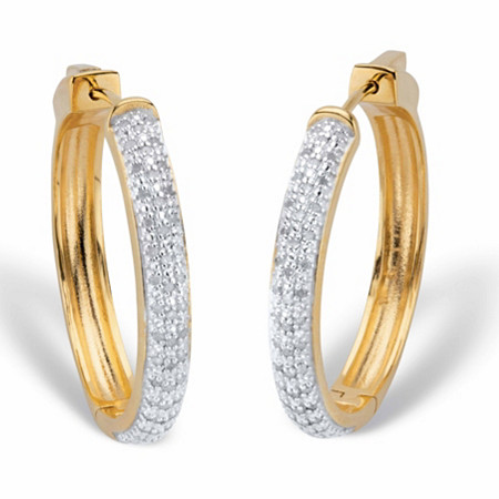 """Round Diamond Hoop Earrings 1/2 TCW 18k Gold-Plated 1 1/3"""" at PalmBeach Jewelry"""