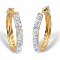 Round Diamond Hoop Earrings 1/2 TCW 18k Gold-Plated 1 1/3