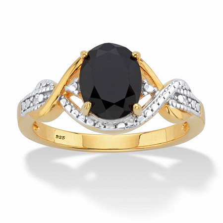 Oval-Cut Genuine Onyx and Diamond Accent Two-Tone Crossover Ring in 18k Gold over Sterling Silver at PalmBeach Jewelry