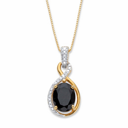 """Oval-Cut Genuine Black Onyx and Diamond Accent Two-Tone 18k Gold over Sterling Silver Looped Pendant Necklace 18"""" at PalmBeach Jewelry"""