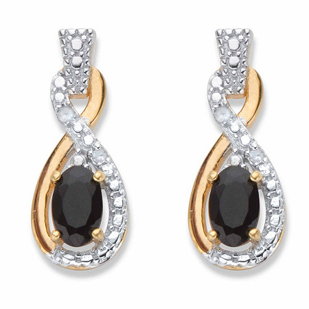 Oval-Cut Genuine Black Onyx and Diamond Accent Two-Tone Twisted Drop Earrings in 18k Gold over Sterling Silver at PalmBeach Jewelry