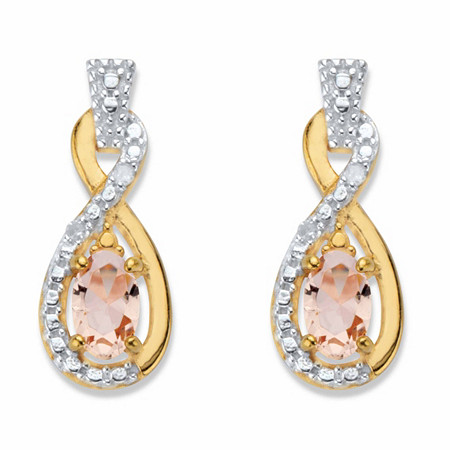 Oval-Cut Simulated Pink Morganite and Diamond Accent Twisted Loop Earrings in 18k Gold over Sterling Silver at PalmBeach Jewelry