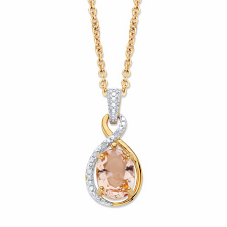 "Oval-Cut Simulated Pink Morganite and Diamond Accent Twisted Loop Pendant Necklace in 18k Gold over Sterling Silver 18"" at PalmBeach Jewelry"