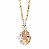 SETA JEWELRY Oval-Cut Simulated Pink Morganite and Diamond Accent Twisted Loop Pendant Necklace in 18k Gold over Sterling Silver 18