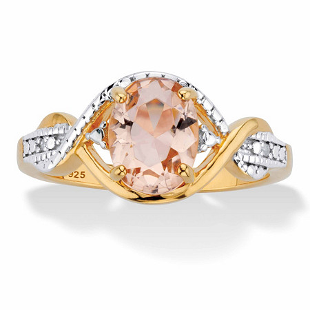 Oval-Cut Simulated Pink Morganite and Diamond Accent Crossover Ring in 18k Gold over Sterling Silver at PalmBeach Jewelry