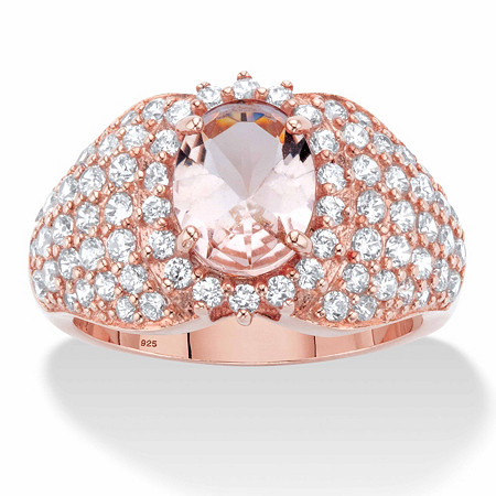 Oval-Cut Simulated Pink Morganite and Cubic Zirconia Dome Cluster Ring in 18k Rose Gold over Sterling Silver at PalmBeach Jewelry