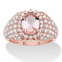 Oval-Cut Simulated Pink Morganite and Cubic Zirconia Dome Cluster Ring 2.34 TCW in 18k Rose Gold over Sterling Silver