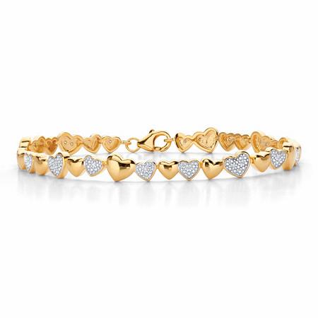 "Round Diamond Two-Tone Heart-Link Bracelet 1/10 TCW 18k Gold-Plated 8"" at PalmBeach Jewelry"