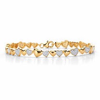 Round Diamond Two-Tone Heart-Link Bracelet 1/10 TCW 18k Gold-Plated 8""