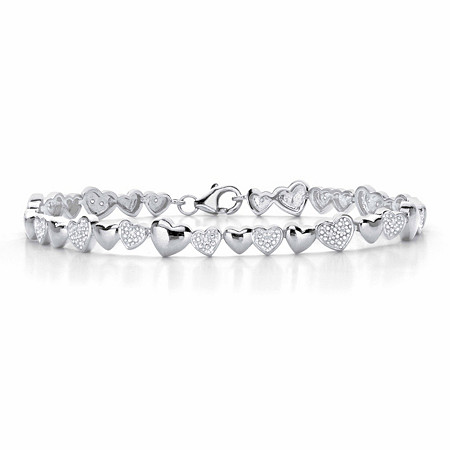 "Round Diamond Two-Tone Heart-Link Bracelet  in Platinum over Sterling Silver 8"" at PalmBeach Jewelry"