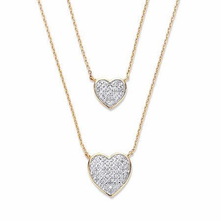 """Round Diamond Two-Tone Heart-Shaped Double-Strand Necklace 1/4 TCW 18k Gold-Plated 18"""" at PalmBeach Jewelry"""
